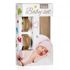 Baby set -  bamboo bath towel beige + pram peg bronze