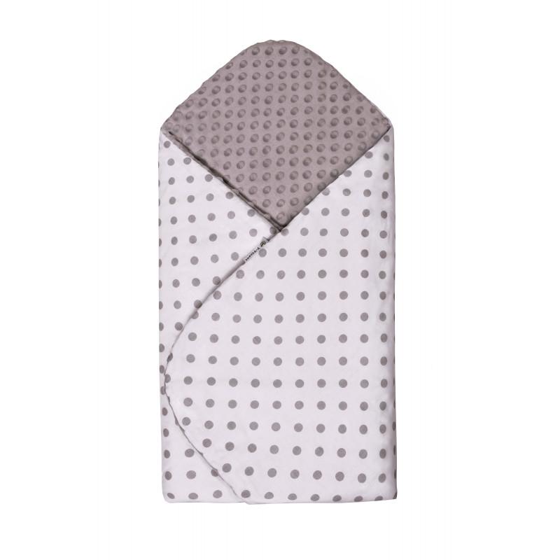 Swaddle wrap MINKY, white / grey dots