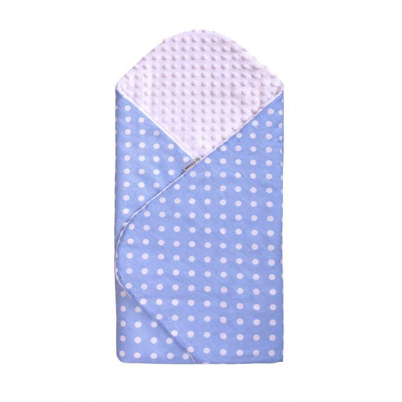 Swaddle wrap MINKY, blue / dots