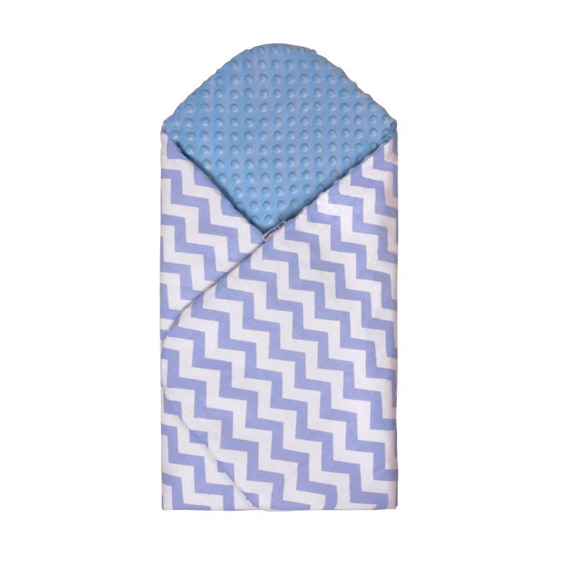 Swaddle wrap MINKY, blue / zig-zag
