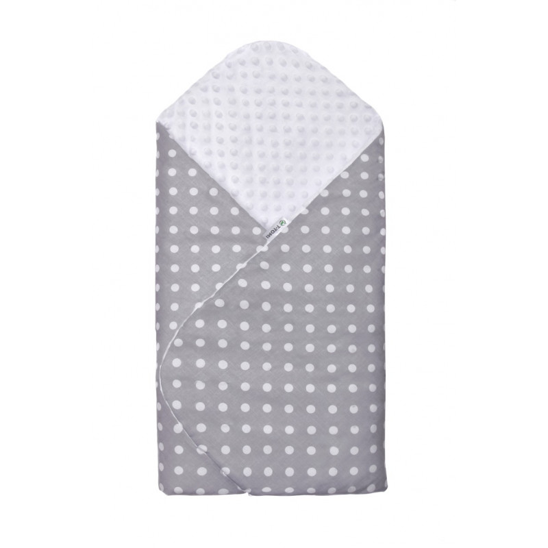 Swaddle wrap MINKY, grey / dots