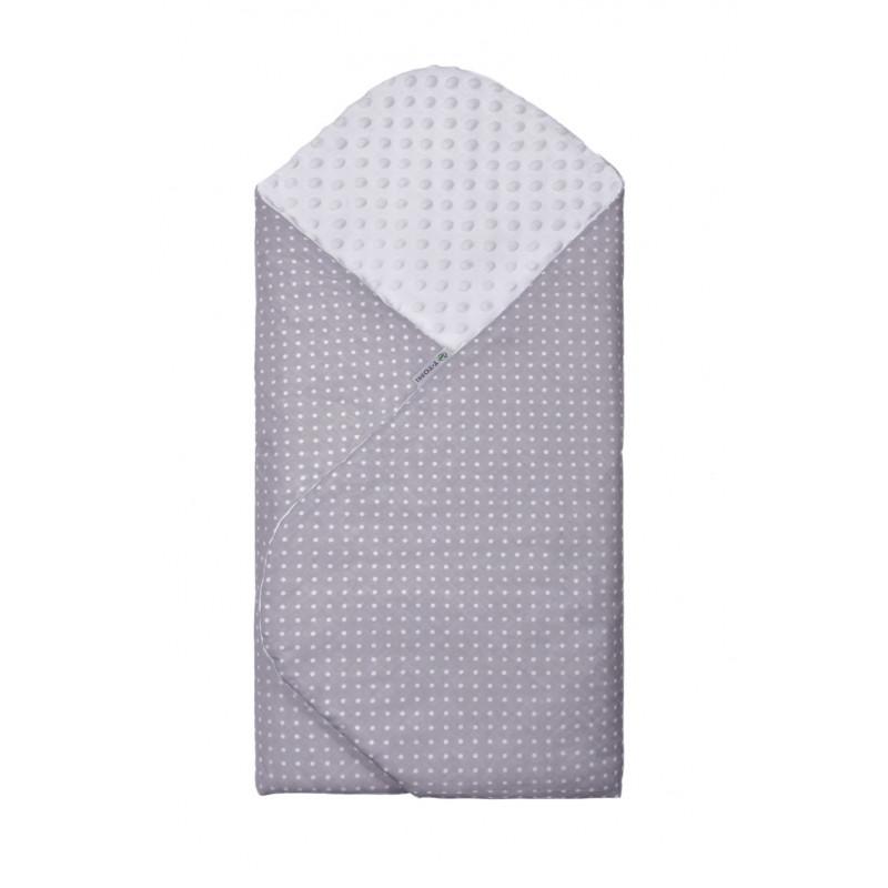 Swaddle wrap MINKY, grey / little dots