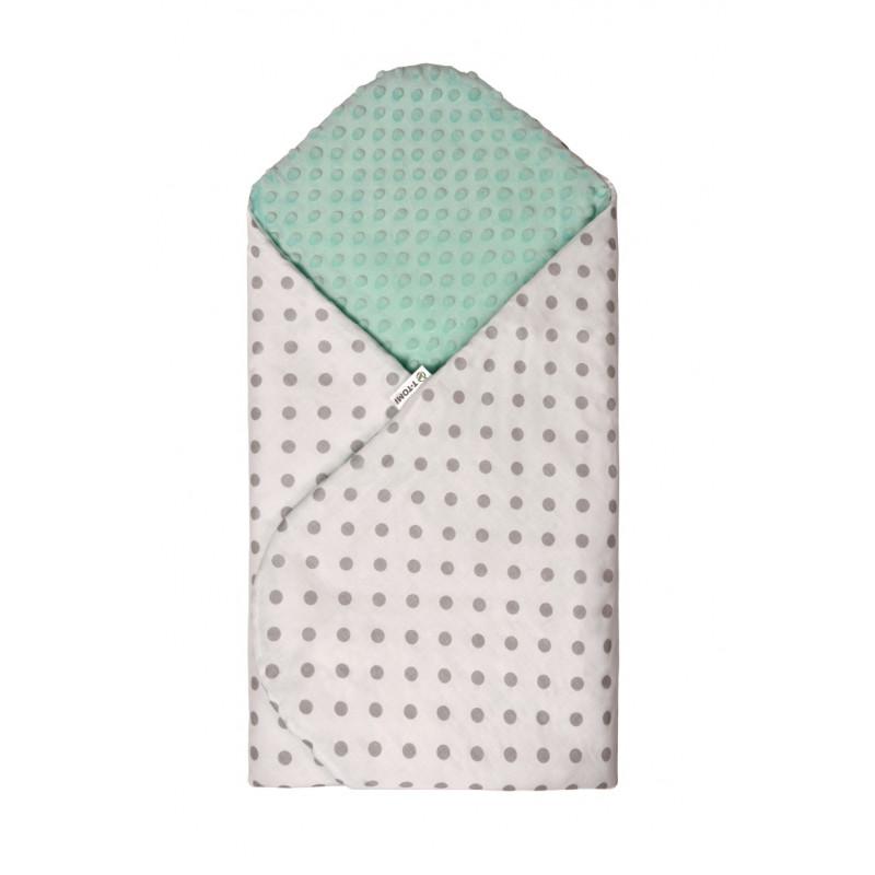 Swaddle wrap MINKY, white - green / grey dots
