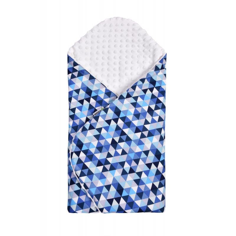 Swaddle wrap MINKY, blue triangles