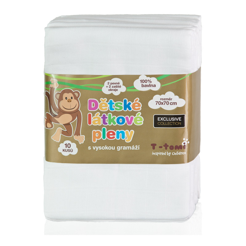 Cloth diapers EXCLUSIVE COLLECTION, white, 70x70, 10pcs.