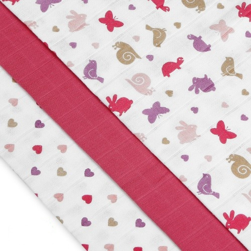 Cloth diapers TETRA, HIGH QUALITY, with printing, 70x70, pink snails
