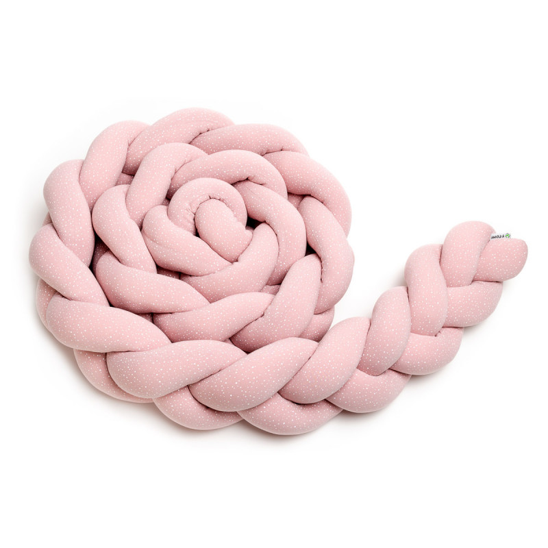 Braided crib bumpers 220 cm, pink dots