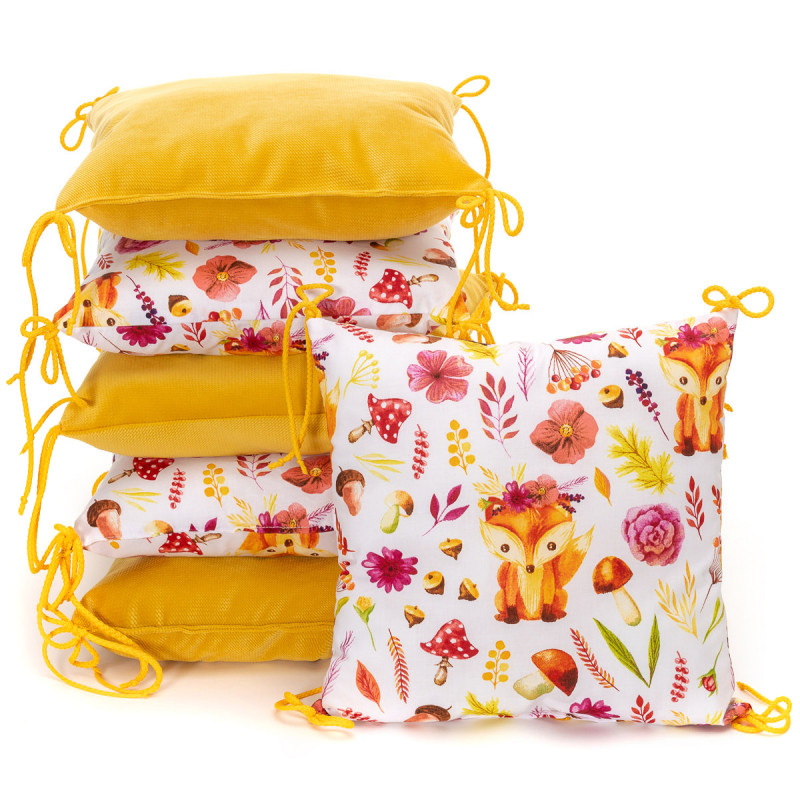 Pillow baby bumper VELVET, foxes