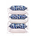 Pillow baby bumper MINKY, blue triangles