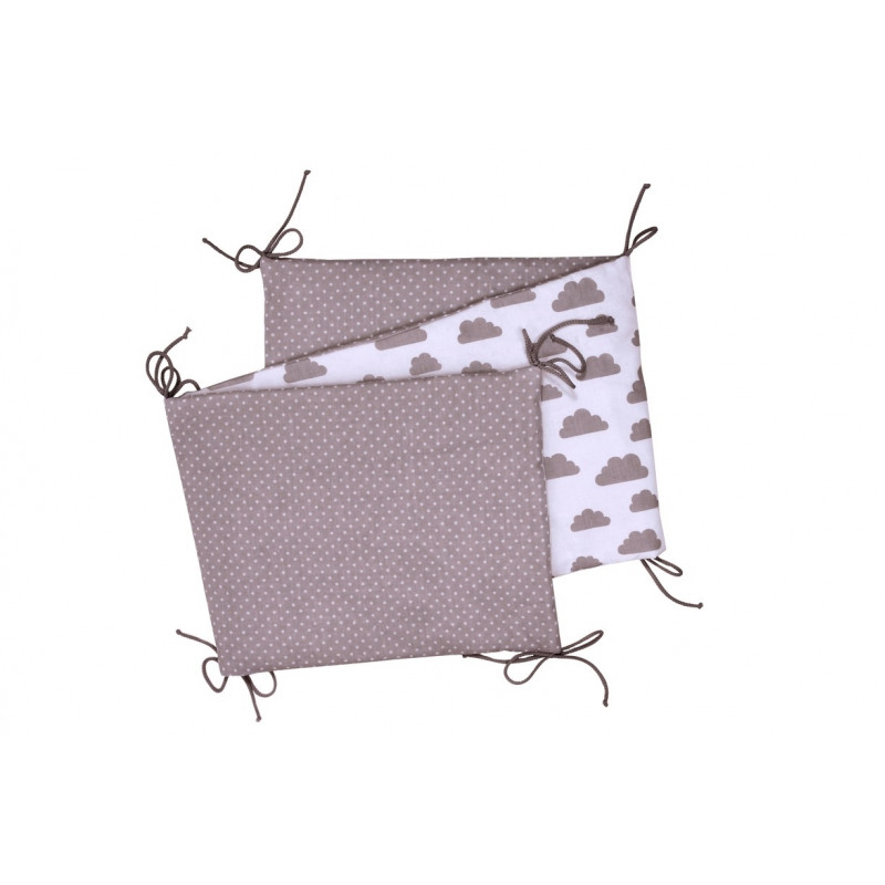 Folding baby bumper, white / grey clouds