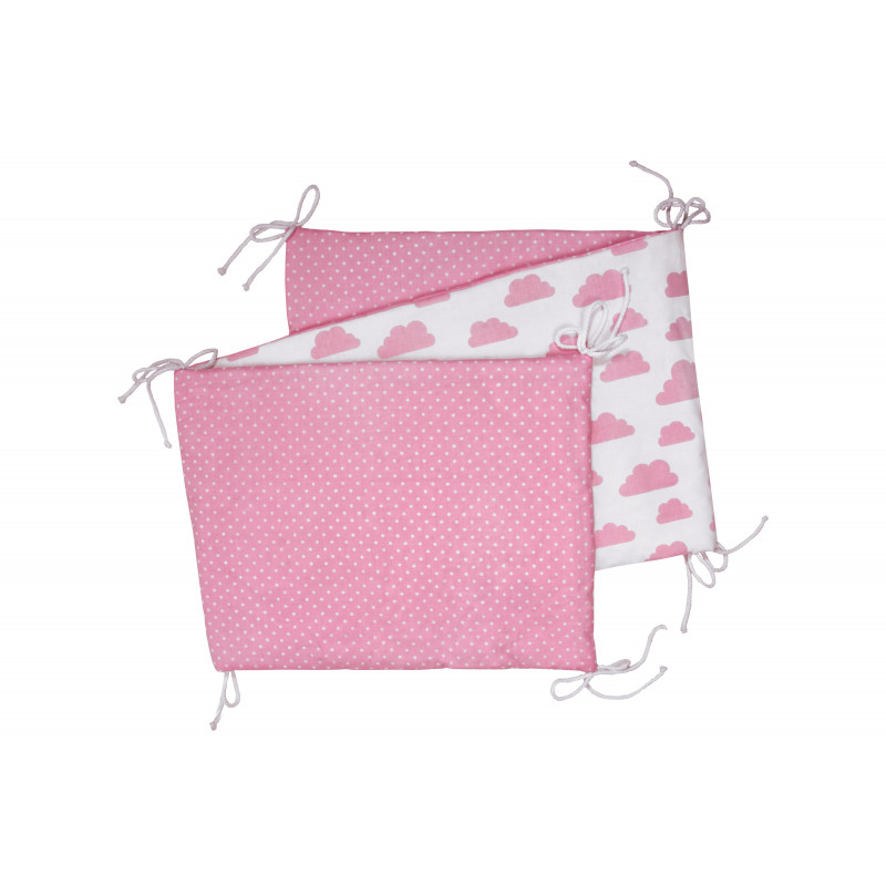 Folding baby bumper, white / pink clouds